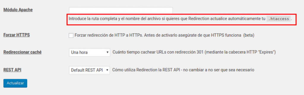 Configuración apache redirection