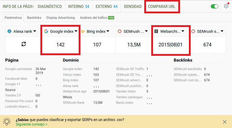 SEO quake extensión para Chrome